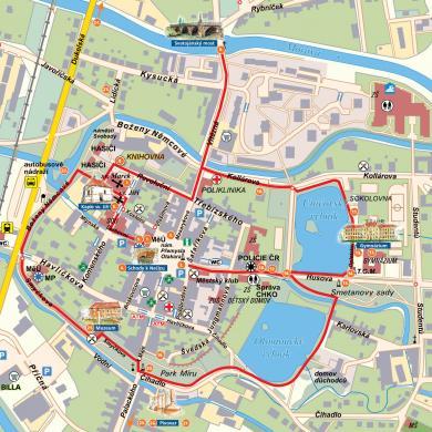 mapa   procházka městem s vyznačením památek   výřez