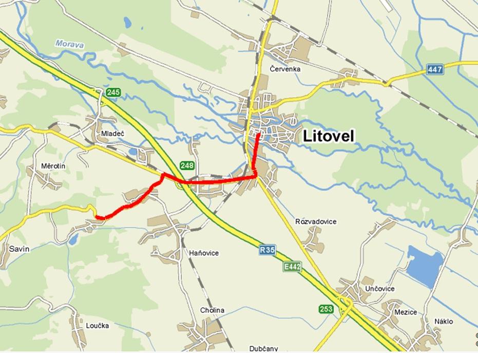 mapa Litovel   Nová Ves , obrázek se otevře v novém okně