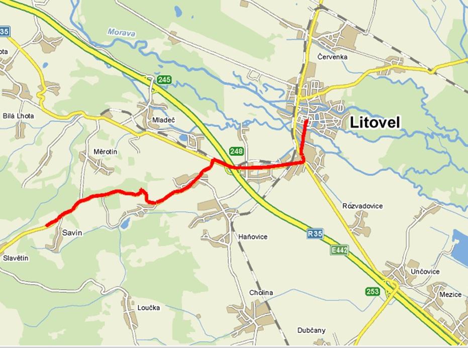 mapa Litovel   Savín , obrázek se otevře v novém okně