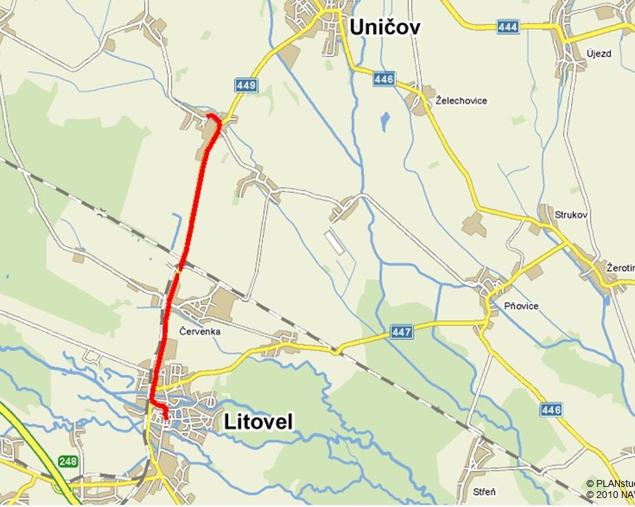 mapa Litovel   Střelice , obrázek se otevře v novém okně