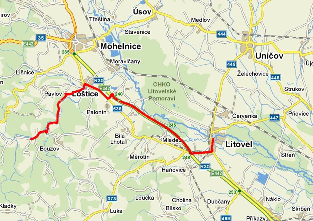 mapa Litovel   Kozov, obrázek se otevře v novém okně