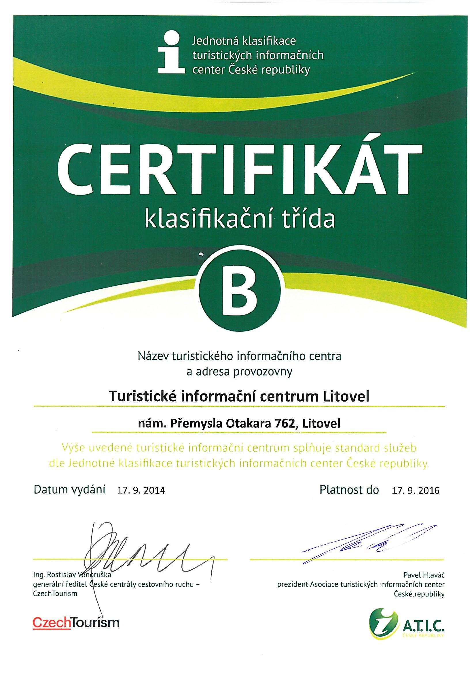 Certifikát ATIC, obrázek se otevře v novém okně