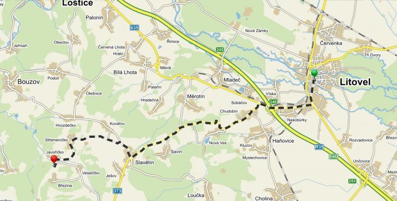 Mapa   RS Javoříčko, obrázek se otevře v novém okně
