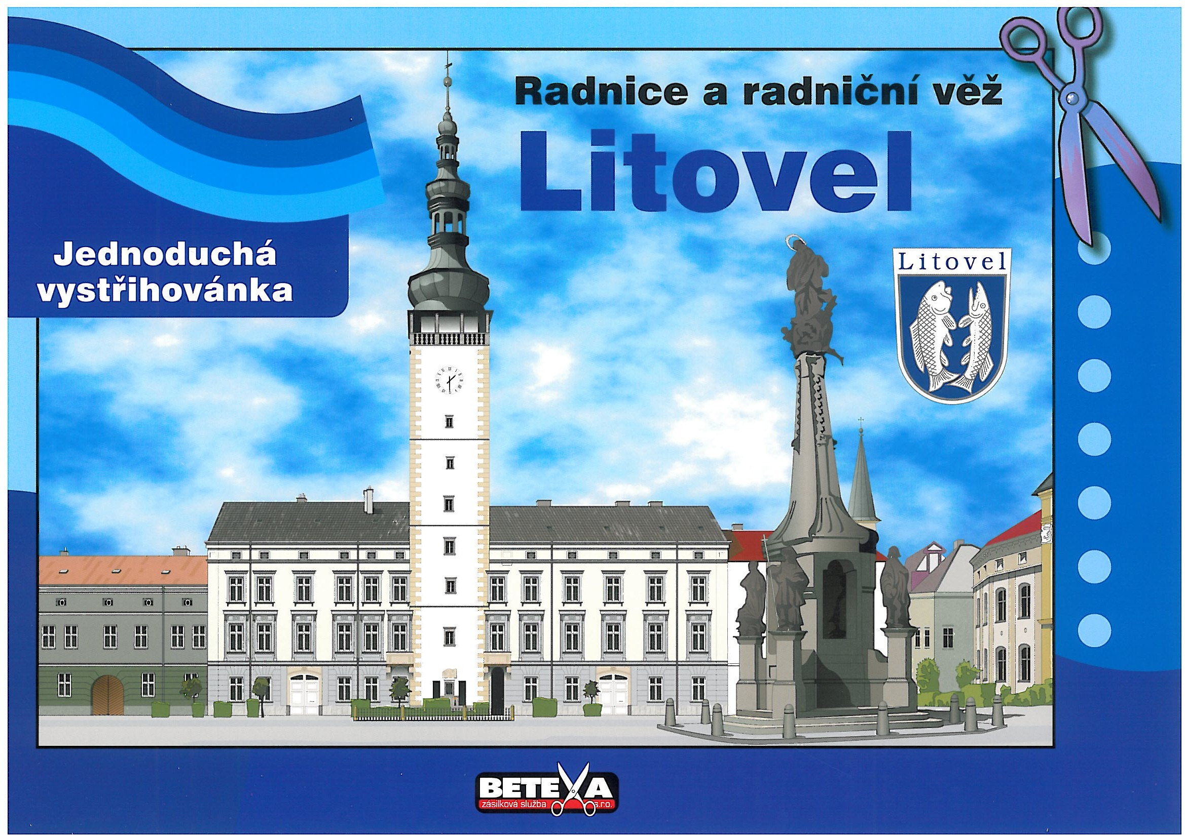 vystřihovánka radnice a radniční věže, obrázek se otevře v novém okně