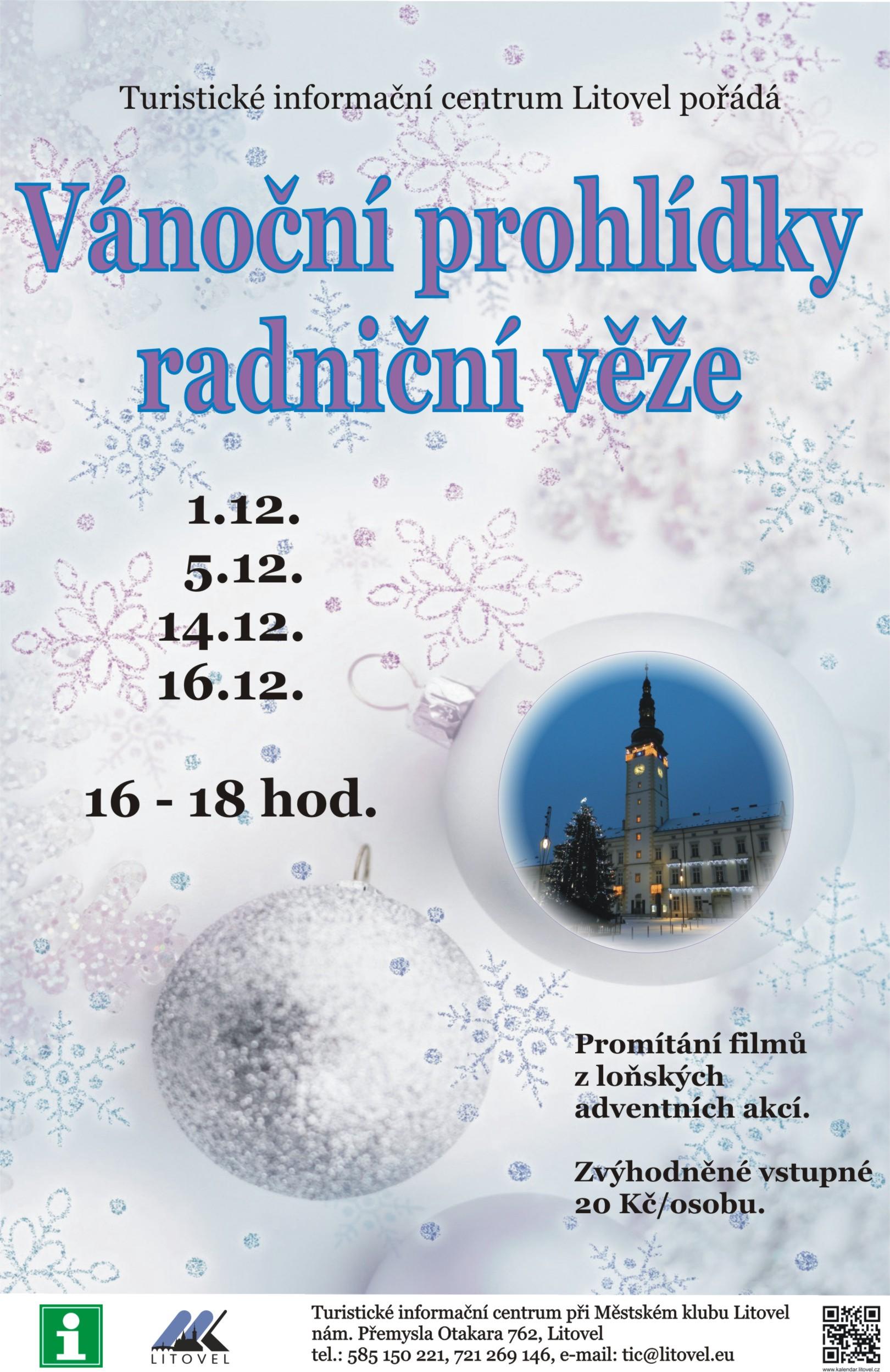 Vánoční radniční věž, obrázek se otevře v novém okně